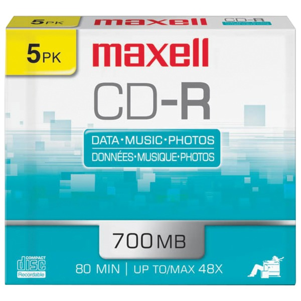 Maxell(R) 623205/648205 700MB 80-Minute CD-Rs (5 pk; Slim Jewel Cases)