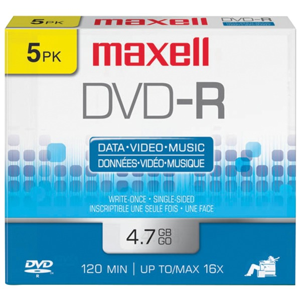 Maxell(R) 638002 4.7GB 120-Minute DVD-Rs (5 pk)