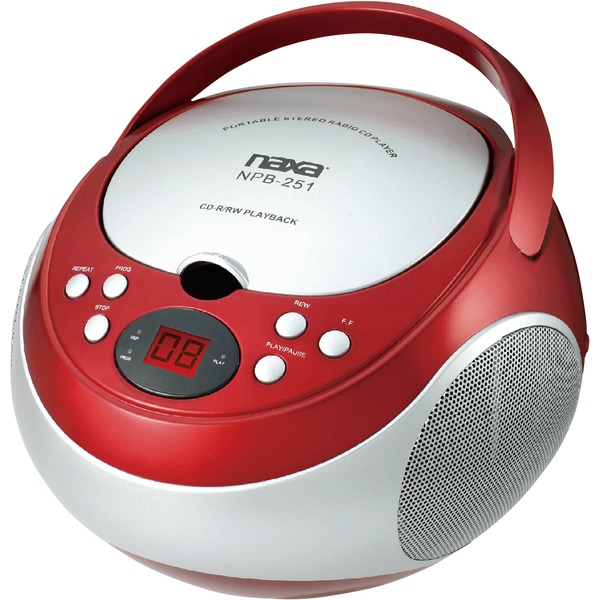 Naxa(R) NPB251RD Portable CD Player with AM/FM Radio (Red)