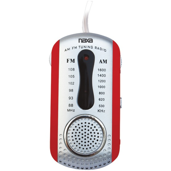 Naxa(R) NR721RD AM/FM Mini Pocket Radio with Speaker (Red)