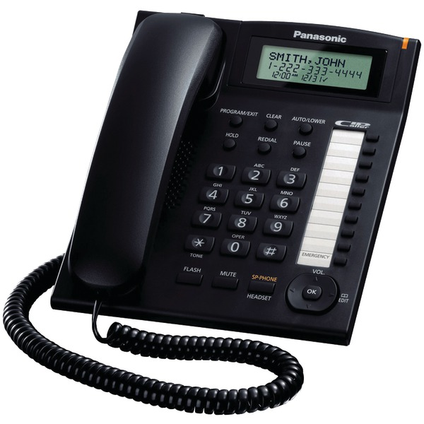 Panasonic(R) KX-TS880B Single-Line Corded Integrated Phone System with 10 One-Touch Dialer Stations
