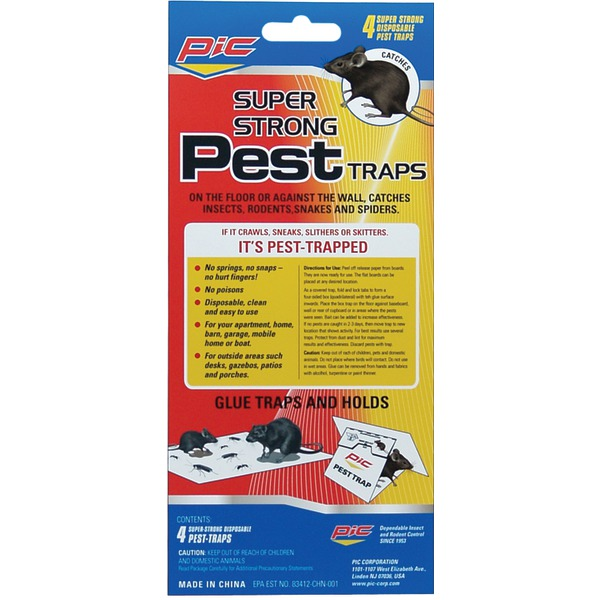 PIC(R) GPT-4 Glue Pest Trap for Spiders & Snakes, 4 pk