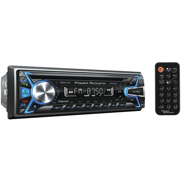 Power Acoustik(R) PCD-51B Single-DIN In-Dash CD/MP3 AM/FM Receiver (With Bluetooth(R))