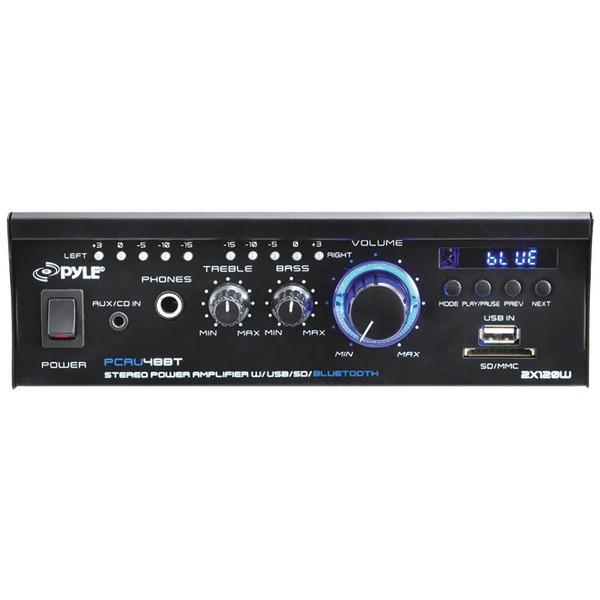 Pyle Home(R) PCAU48BT 120-Watt Mini Blue Series Bluetooth(R) Stereo Power Amp