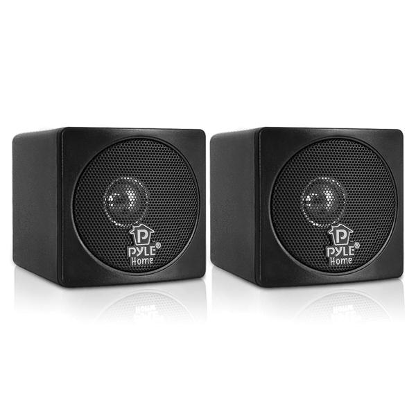 """Pyle Home(R) PCB3BK 3"""" 100-Watt Mini-Cube Bookshelf Speakers (Black)"""