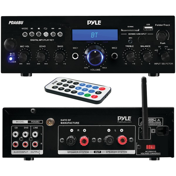 Pyle Home(R) PDA6BU 200-Watt Bluetooth(R) Stereo Amp Receiver with USB & SD(TM) Card Readers