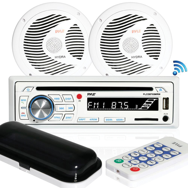 "Pyle(R) PLCDBT65MRW Marine Single-DIN In-Dash CD AM/FM Receiver with Two 6.5"" Speakers, Splashproof Radio Cover & Bluetooth(R) (White)"