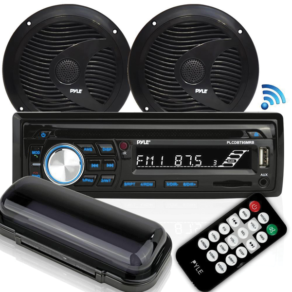 "Pyle(R) PLCDBT75MRB Marine Single-DIN In-Dash CD AM/FM Receiver with Two 6.5"" Speakers, Splashproof Radio Cover & Bluetooth(R) (Black)"