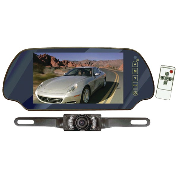 """Pyle(R) PLCM7200 7"""" LCD Mirror Monitor/Backup Night Vision Camera Kit (Without Bluetooth(R))"""