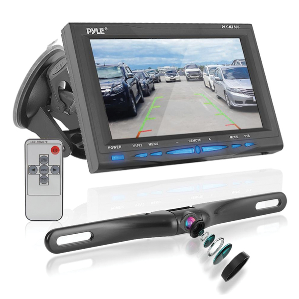 """Pyle(R) PLCM7500 7"""" Window Suction-Mount LCD Widescreen Monitor & License-Plate-Mount Backup Color Camera with Distance-Scale Line"""