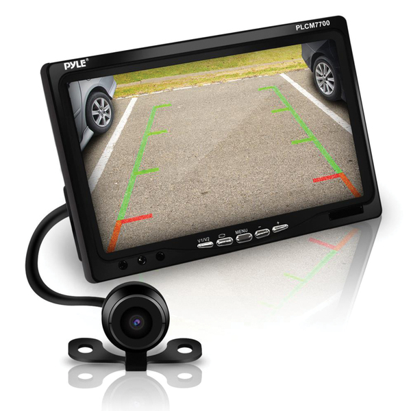 """Pyle(R) PLCM7700 7"""" Window Suction-Mount LCD Widescreen Monitor & Universal Mount Backup Color Camera with Distance-Scale Line"""