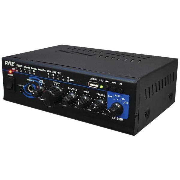 Pyle Home(R) PTAU45 120-Watt x 2 Stereo Power Amp with USB Reader
