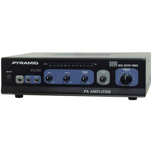 Pyramid(R) Car Audio PA105 Amp with Microphone Input (80 Watt)