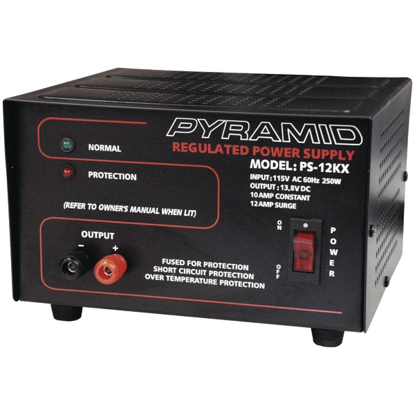 Pyramid(R) Car Audio PS12KX Power Supply (250 Watts Input, 10 Amp Constant)