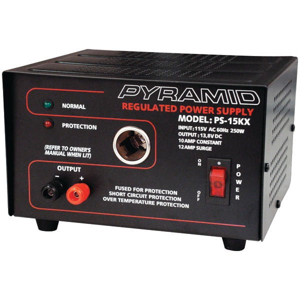 Pyramid(R) Car Audio PS15K 10-Amp Power Supply with Car-Charger Adapter