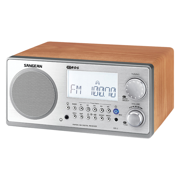 Sangean WR2WAL Digital AM/FM Stereo System with LCD & Alarm Clock (Walnut)