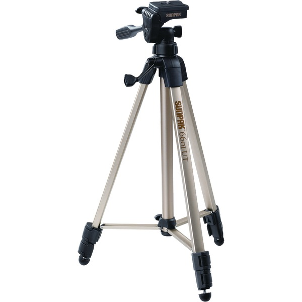 """Sunpak(R) 620-060 Tripod with 3-Way Pan Head (Folded height: 20.3""""; Extended height: 58.32""""; Weight: 2.8lbs; Includes 2nd quick-release plate)"""