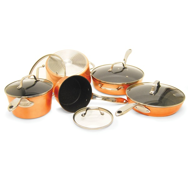 THE ROCK(TM) by Starfrit(R) 030910-001-STAR THE ROCK(TM) by Starfrit(R) 10-Piece Copper Cookware Set