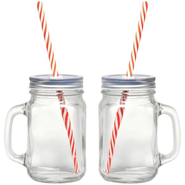 Gourmet By Starfrit(R) 080049-006-0000 Mason Jar Mugs, 2 pk with Straws