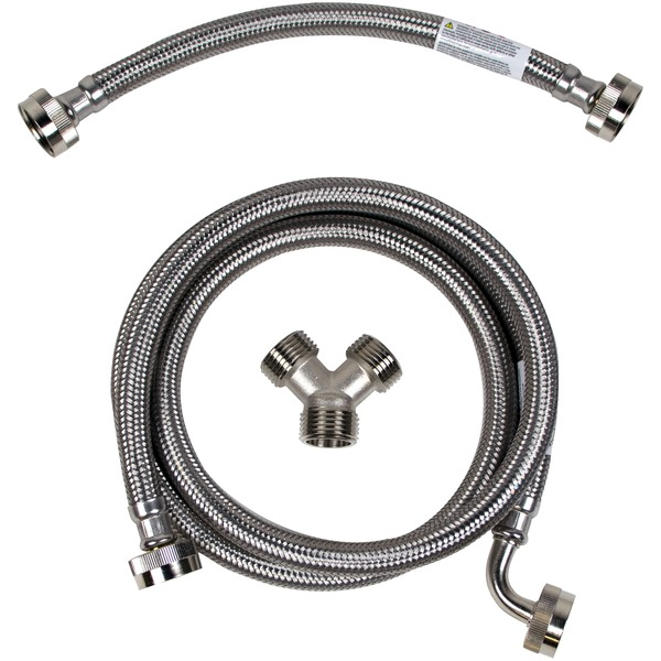 Certified Appliance Accessories(R) STMKIT2 Braided Stainless Steel Steam Dryer Installation Kit with Elbow, 5ft