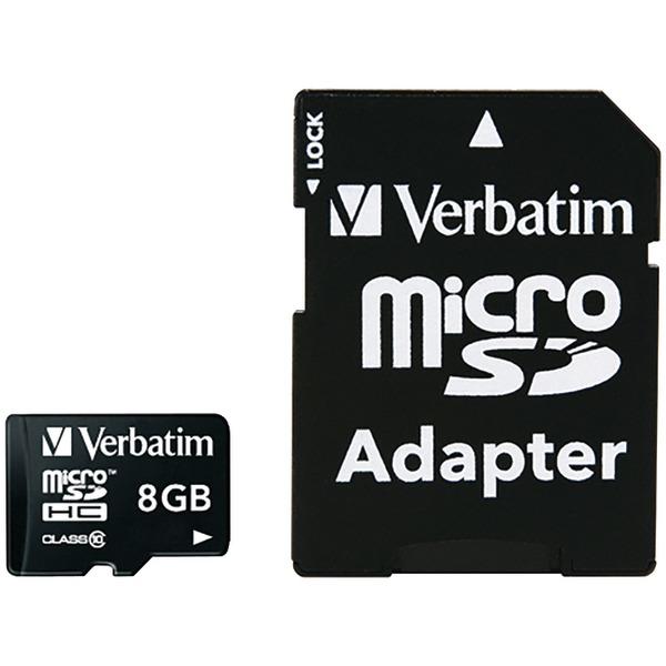 Verbatim(R) 44081 microSDHC(TM) Card with Adapter (8GB; Class 10)
