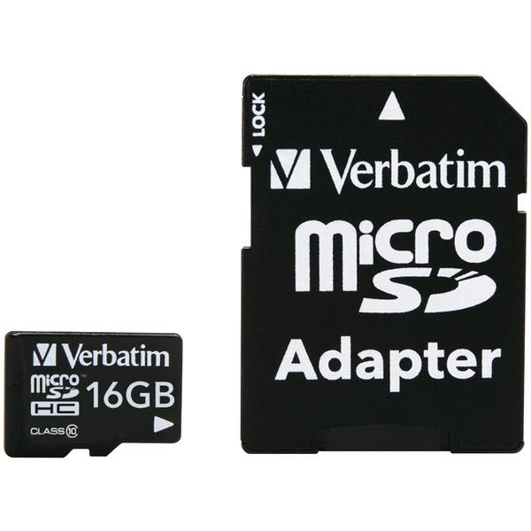 Verbatim(R) 44082 microSDHC(TM) Card with Adapter (16GB; Class 10)