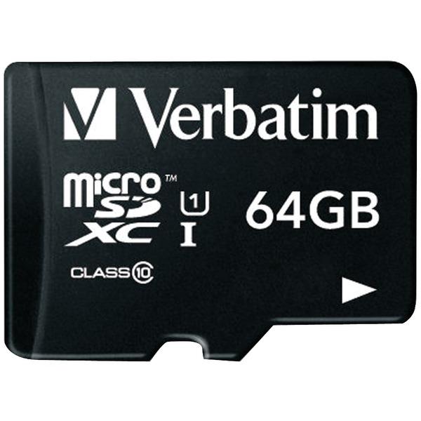 Verbatim(R) 44084 64GB Class 10 microSDXC(TM) Card with Adapter