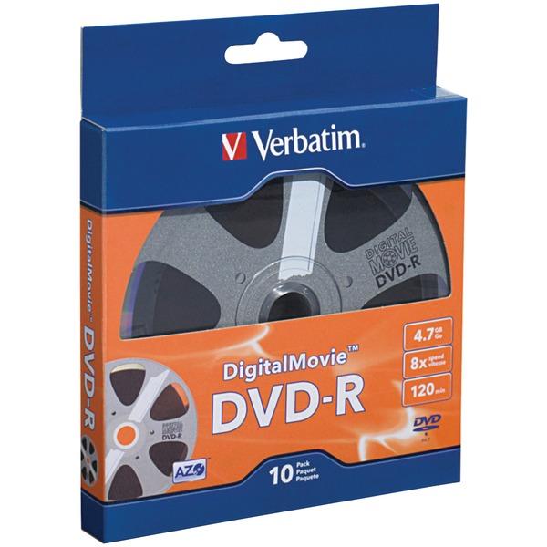 Verbatim(R) 97946 4.7GB 120-Minute DigitalMovie(R) DVD-Rs, 10 pk