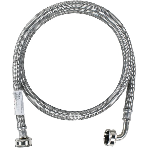 Certified Appliance Accessories(R) WM72SSL Braided Stainless Steel Washing Machine Hose with Elbow, 6ft
